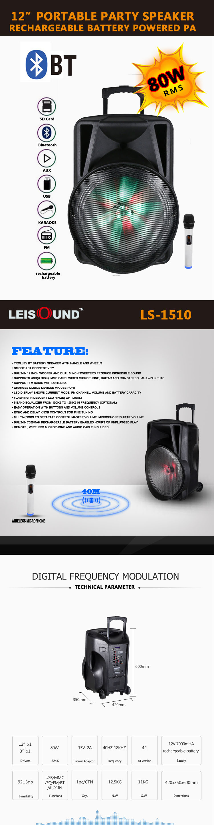 "12"" /15"" portable bluetooth speaker pa system with microphone"