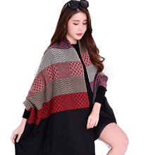 2017 New arrival winter long plaid 7 color stitching women fake cashmere scarf poncho for women with tassel