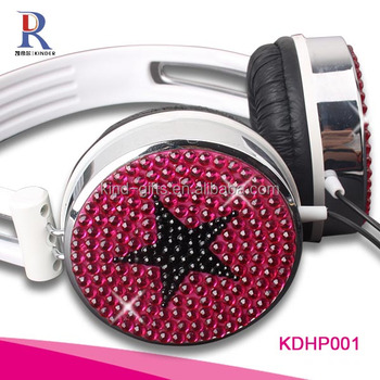 Fashionable bling bling jeweled best colorful earmuff headphones mp3 headphone