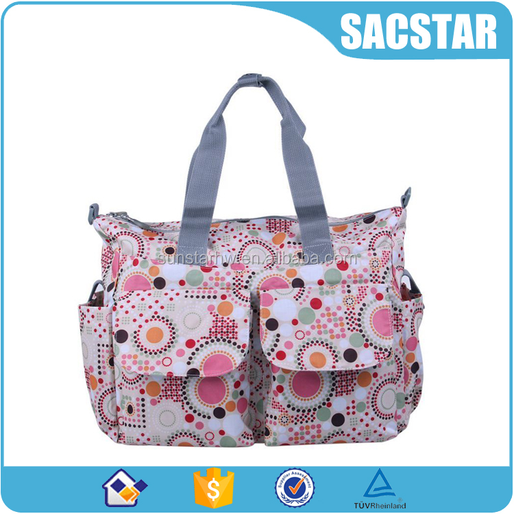 Customized full printing mummy bag nappy bag with changing pad