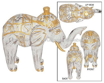 WHITE WASH - GOLD ELEPHANT CARVING