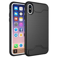 Shockproof protective phone case with card slot holder, wire drawing armor hard PC silicone phone case cover for Iphone X case