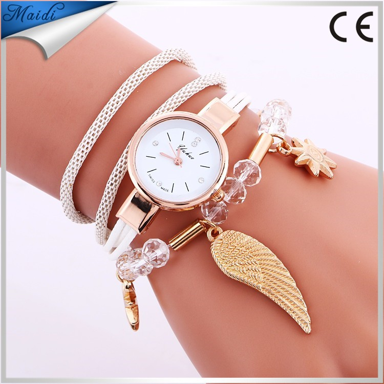 Pearl Hot fashion women bracelets watches diamond rope weave handmade ladies angel wing dress quartz wrist watches WW088