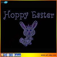 Artsky bling crystal decor rhinestone applique Hoppy Easter cheap heat transfers for t shirts