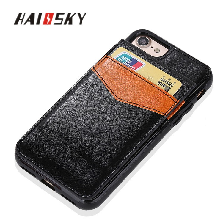 HAISSKY 2017 New high quality 2 in1 leather wallet stand case for iphone 7 7 plus