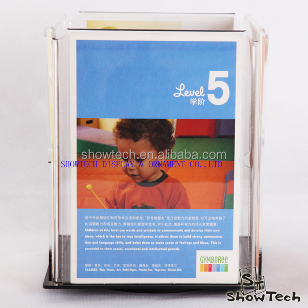 Modern style table top acrylic bank rotating advertising paper display stand ST-RMHA5x4T