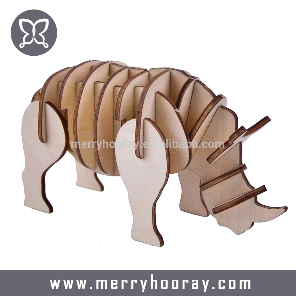 Customized 3D Puzzle Wooden DIY Toy For Kids DIY Animal