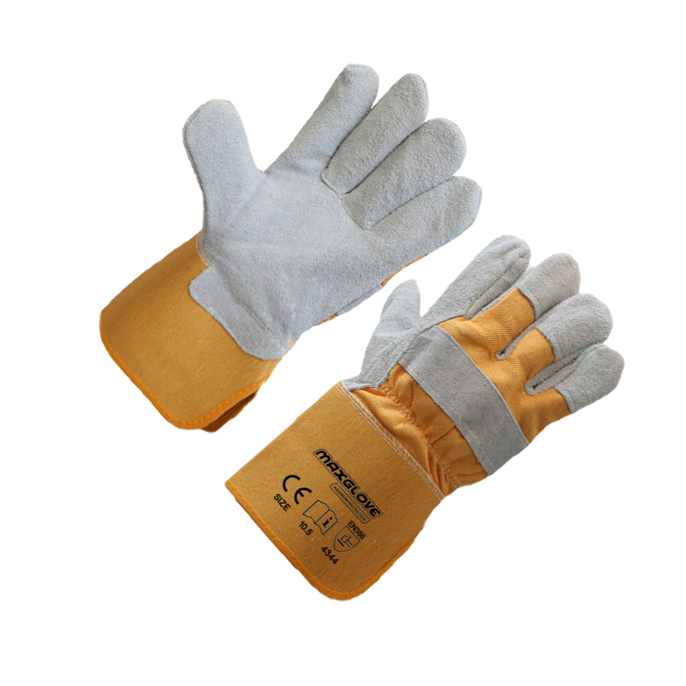 Low price leather gloves cut finger of China national standard