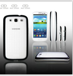 Great cheap PC+TPU Grid double color mobile phone case for Samsung I9300