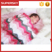 V-547 stripe cotton towel embroidered baby swaddle blanket crochet baby blanket wrap