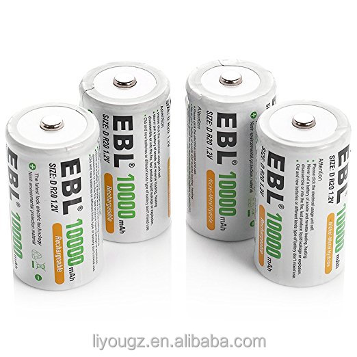 EBL 4 Pack D Size D Cell 10,000mah High Capacity High Rate NiMH Rechargeable Batteries, Storage Cased Included