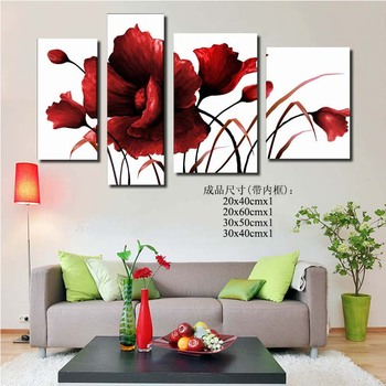 100%  group Hand Painted abstract flower wall art canvas oil painting for Home Decoration