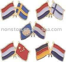 Two Flags Custom Lapel Pins,friendship flag lapel pins