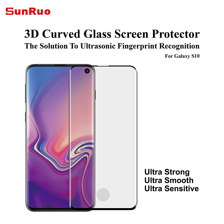 With applicator! 3D curved edge screen protector for Samsung S10 fingerprint unlock film for Samsung  S10