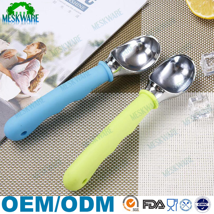 Non-slip rubber grip dishwasher safe original ice cream scoop stainless steel