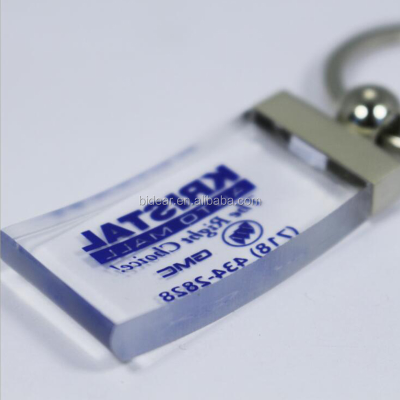 clear thick acrylic block key chain with logo