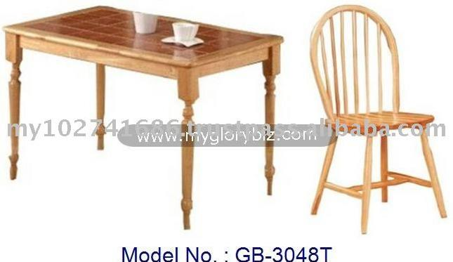 Durable Antique Designs Wooden Dining Room Set (1 Table + 4 Chairs) Malaysia Home Furniture