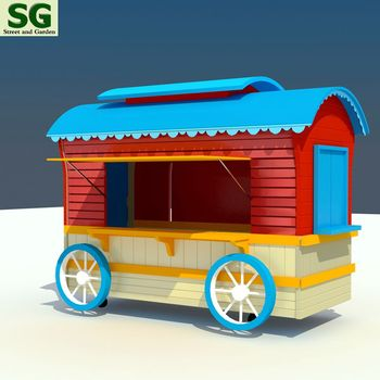 Fireproof ice cream push cart, hot dog cart, food cart for theme park