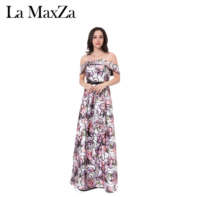 La MaxZa Evening Print Jacquard Strapless Empire Maxi Long Party Dress Women
