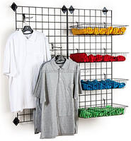 Metal Wire Mesh Hanging Baskets Retail Display Rack