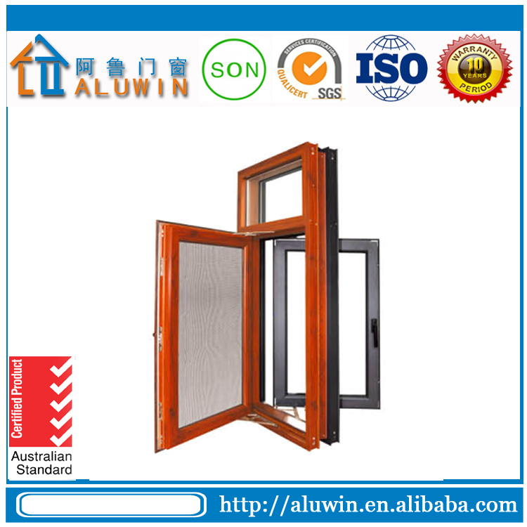 Wooden color aluminum frame tempered safety glass casement window with grill design and mosquito net for residential house