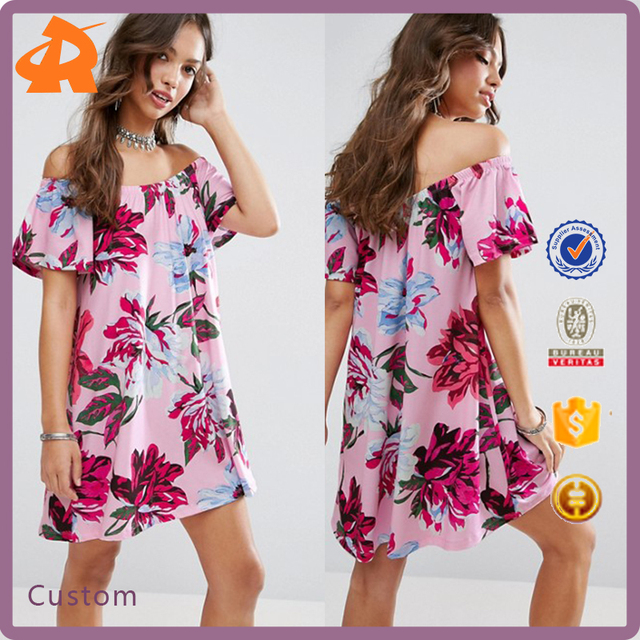 custom made off shoulder pattern beach plus size dress,china dress manufacturer