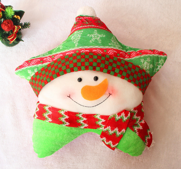 Promotion Holiday Pillow Star Shaped Decoration Soft Plush Toy Christmas Pillow