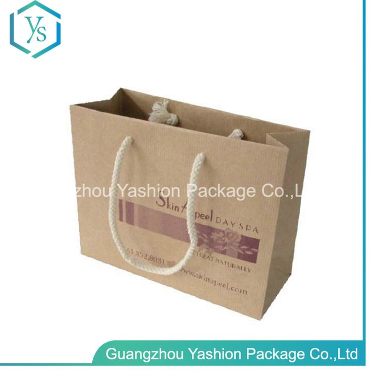 Wholesale Top Quality For Products Reusable Promotion Custom Nylon Rope Handle Brown Kraft Paper Bag
