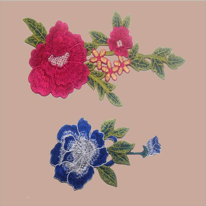 Wholesale Stone Embroidered Rose Applique Patches