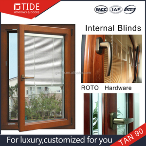 TIDE TAN90 alu and wood window with interior louvers,real estate window with blinds inside