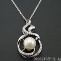 Fashionable Jewelry 925 Sterling Silver CZ Fresh Water Pearl Pendant Designs DR032495P