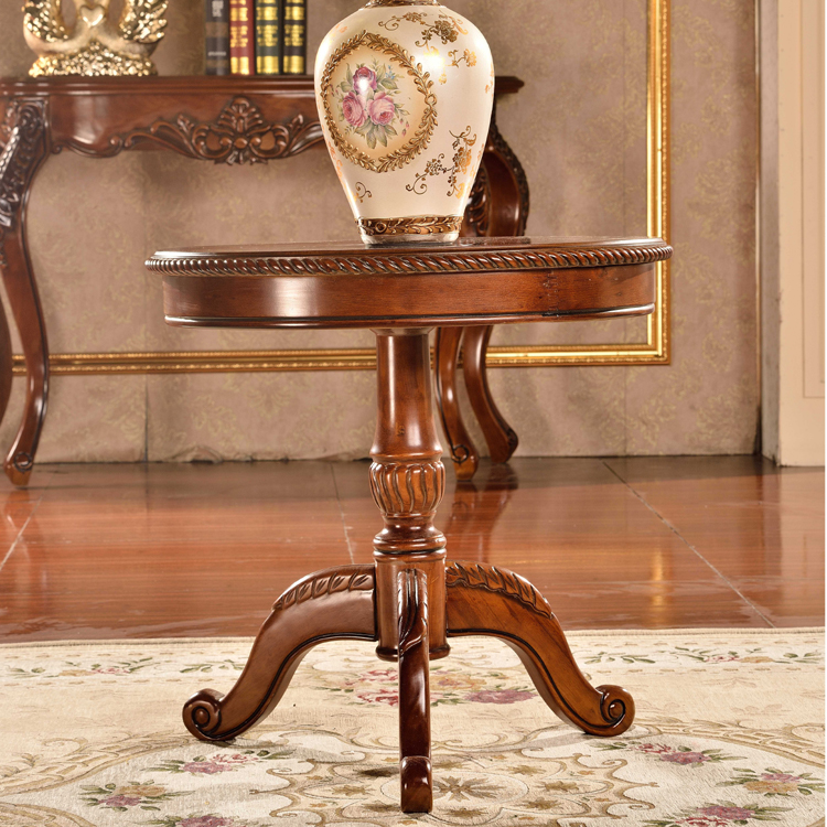 Foshan good price solid wooden coffee table three legs round tea table furniture