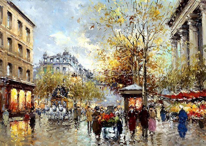 Living room art knife oil painting for french paris street scenery