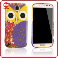 Yellow with Blue Owl Pattern TPU Gel Print Design Cartoon Mobile Phone Case for Samsung Galaxy S4 I9500 S IV