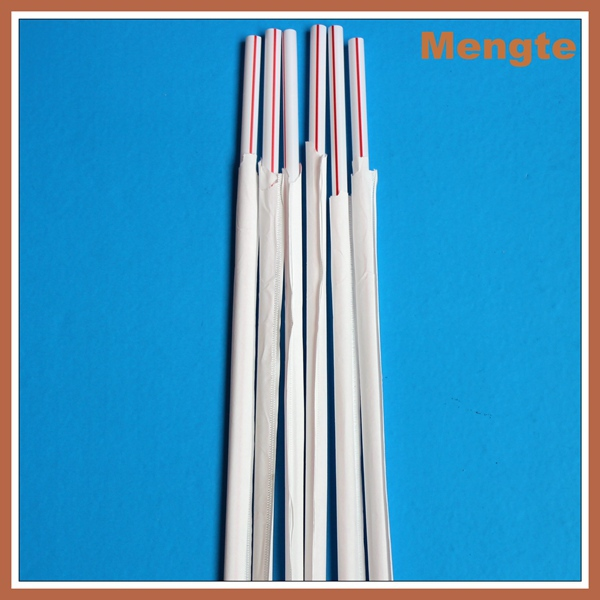 Red and White striped decorative plastic straight drinking straws