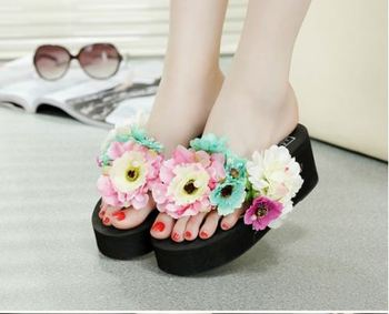 New design lady fashion women sexy flip flop slippers with flower