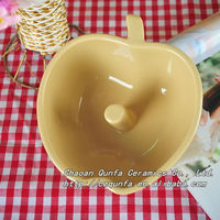 High quality cute color apple shape daily use cheap ceramic bowl