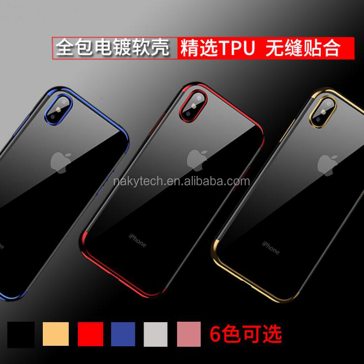 High quality fashion Three stage colorful electroplating TPU cell phone case for iphone X