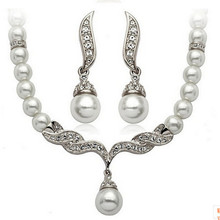 Fashion Bridal Pearl Elegant Costume Jewelry Set Beautiful Wedding Wholesale