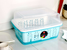 Colorful Wholesale rectangle plastic Vegetable Washing Basket with lid