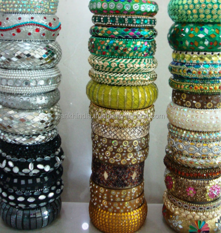 sample on sale assorted design fancy metal bangles with mirror and lakh work stone emblishment