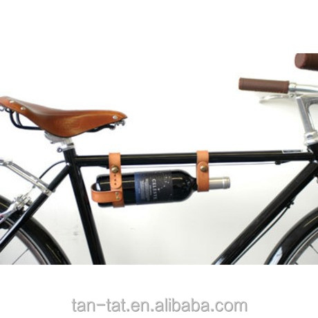 Top Quality Tanned Leather Bicycle Wine Rack Caddy