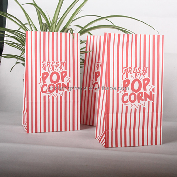 food grade cheap flat bottom custom printing reusable brown kraft paper microwave wholesale popcorn bag