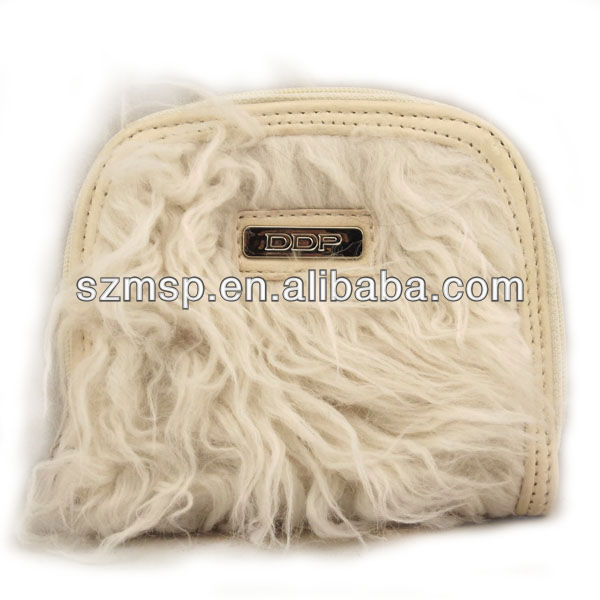 White washable fur pu material ladies wallet