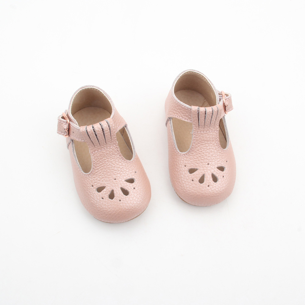 One Cent Sample Wholesale Light Pink Kawayi Soft Sole Leather Girls Autumn Spring Baby Shoes