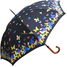 Women's wooden straight umbrella water activated color changing butterfly print Umbrella