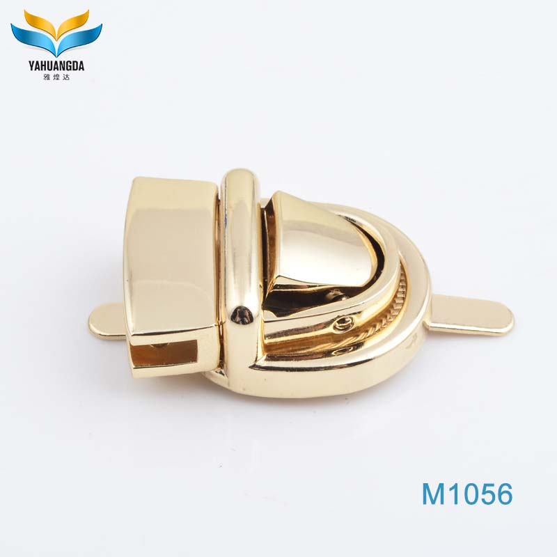 hot selling unique laptop light gold plating zinc alloy metal push bag lock for bag lock parts