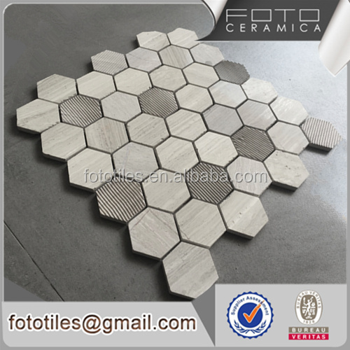 China factory promotion nature mosaic hexagon travertine marble price tile mosaic