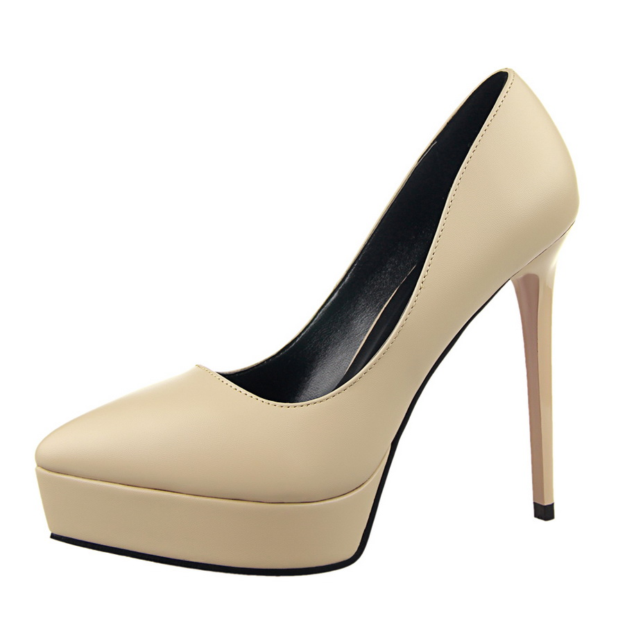 Wholesale Classic Simple Elegant Women Formal Work Office Leather Pumps Women Platform High <strong>Heels</strong>