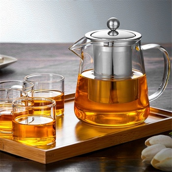 Clear Glass Teapot with Infuser, High Borosilicate Glass Teapot with Removable Stainless Steel Infuser, Stovetop Safe